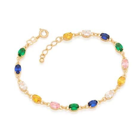 551678 pulseira formada por 14 zirconias ovais coloridas marca rommanel loja revendedora brilho folhados 2