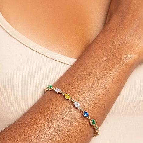 551678 pulseira formada por 14 zirconias ovais coloridas marca rommanel loja revendedora brilho folhados foto modelo 1