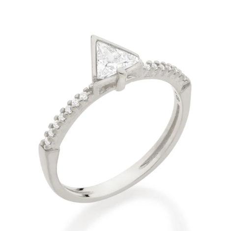110843 anel solitario cravejado composto por zirconia triangular folheado a rodio marca rommanel loja revendedora brilho folheados