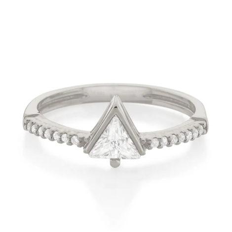 110843 anel solitario cravejado composto por zirconia triangular folheado a rodio marca rommanel loja revendedora brilho folheados 2
