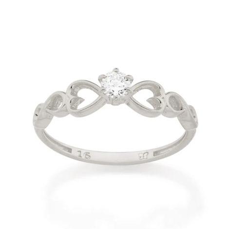 110850 anel solitario com detalhe de coracao e infinito nas laterais marca rommanel loja brilho folheados