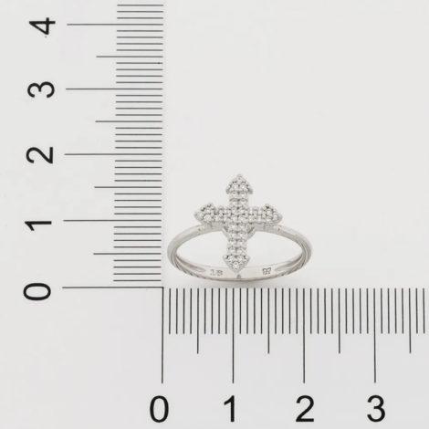 110861 anel prateado composto por cruz cravejada marca rommanel loja revendedora brilho folheados 2