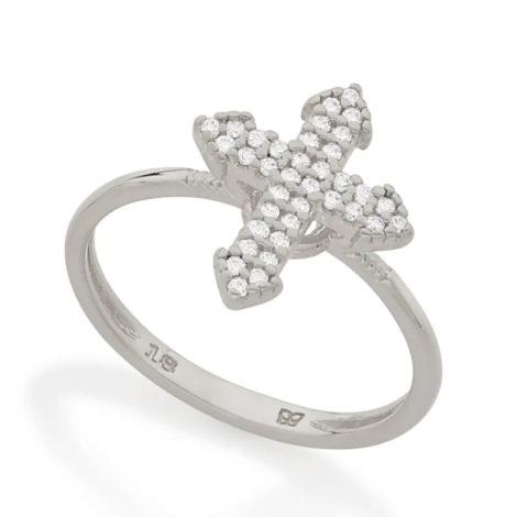 110861 anel prateado composto por cruz cravejada marca rommanel loja revendedora brilho folheados
