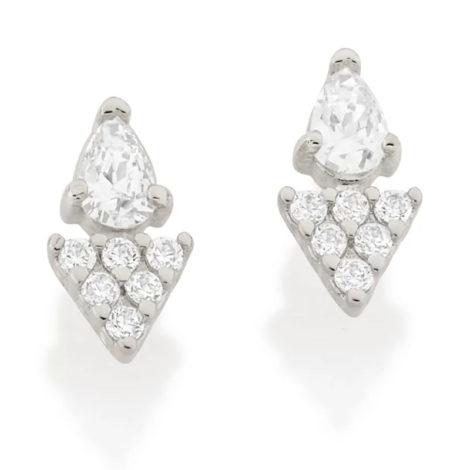 121777 brinco gota cristal composto por parte triangular cravejada prateado marca rommanel loja revendedora brilho folheados