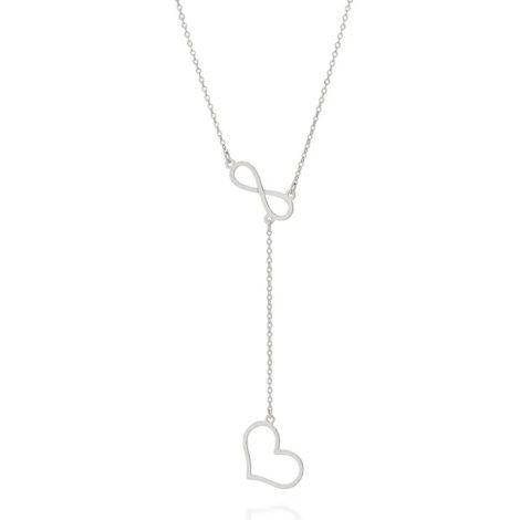 130469 gargantilha prateada gravatinha com pingente infinito e coracao marca rommanel loja brilho folheados