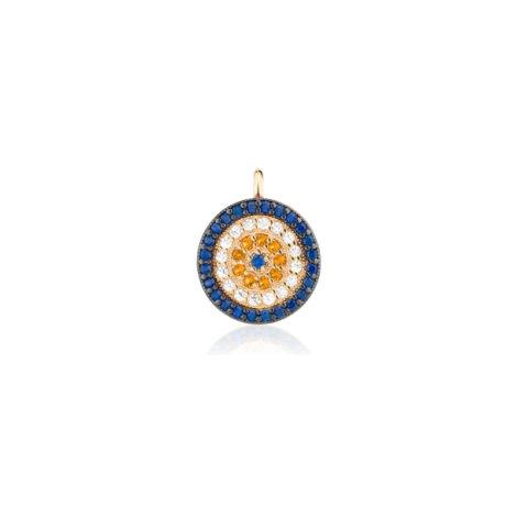 1800781 pingente pequeno formato olho grego cravejado com zirconias azul branca e laranja marca sabrina joias loja brilho folheados 2