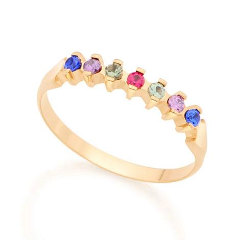 512691 anel meia alianca 7 zirconias coloridas marca rommanel loja revendedora brilho folheados 2