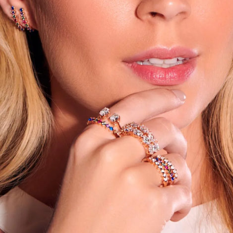 512691 anel meia alianca 7 zirconias coloridas marca rommanel loja revendedora brilho folheados 3