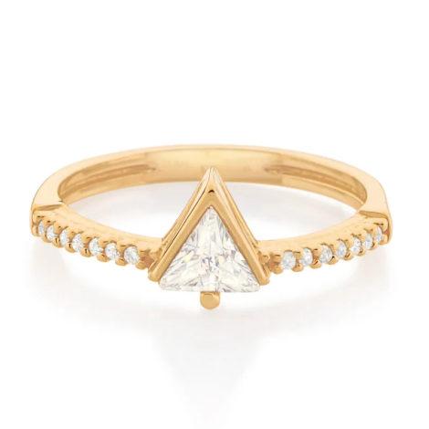 512848 anel solitario cravejado composto por zirconia triangular folheado a ouro marca rommanel loja revendedora brilho folheados 2