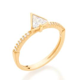 512848 anel solitario cravejado composto por zirconia triangular folheado a ouro marca rommanel loja revendedora brilho folheados