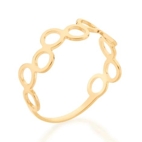 512849 anel formado por circulos vazados folheado a ouro marca rommanel loja revendedora brilho folheados