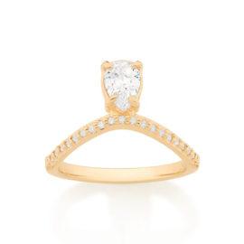 512854 anel aro curvado com aro cravejado em zirconias e zirconia solitaria formato gota marca rommanel loja brilho folheados