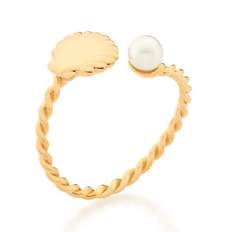 512876 anel ajustável formado por aro formato corda composto por concha e pérola marca rommanel loja revendedora brilho folheados 2