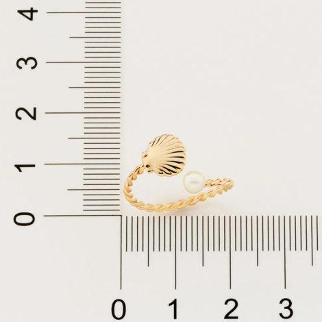 512876 anel ajustável formado por aro formato corda composto por concha e pérola marca rommanel loja revendedora brilho folheados 4