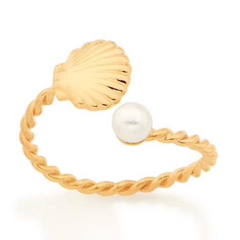 512876 anel ajustável formado por aro formato corda composto por concha e pérola marca rommanel loja revendedora brilho folheados