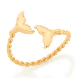 512877 anel ajustável aro formato corda composto por caudas de sereias nas pontas marca rommanel loja revendedora brilho folheados
