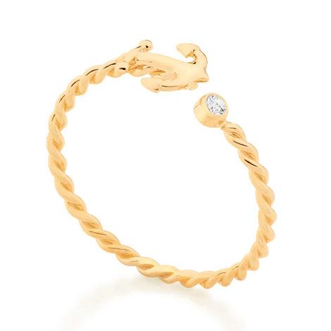 512878 anel ajustável formado por aro formato corda composto por âncora e zircônia marca rommanel loja revendedora brilho folheados 2