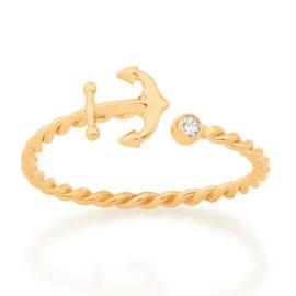 512878 anel ajustável formado por aro formato corda composto por âncora e zircônia marca rommanel loja revendedora brilho folheados