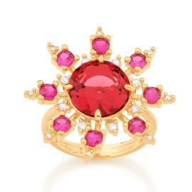 512880 maxi anel zirconias rosa e vermelha marca rommanel loja revendedora oficial brilho folheados