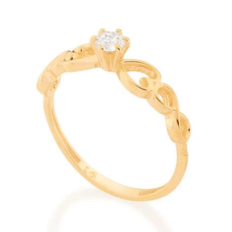512889 anel dourado solitario com detalhe de coracao e infinito nas laterais marca rommanel loja brilho folheados 1
