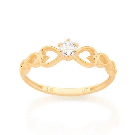 512889 anel dourado solitario com detalhe de coracao e infinito nas laterais marca rommanel loja brilho folheados