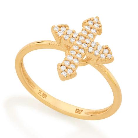 512900 anel composto por cruz cravejada folheado a ouro marca rommanel loja revendedora brilho folheados