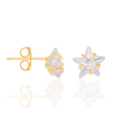 524205 brinco pedra zirconia no formato de uma estrela marca rommanel loja brilho folheados 1