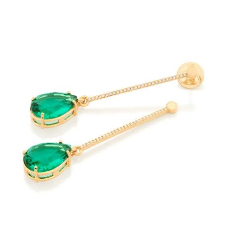 526418 brinco fio cravejado composto por zirconia cristal verde folheada a ouro marca rommanel loja revendedora brilho folheados 2