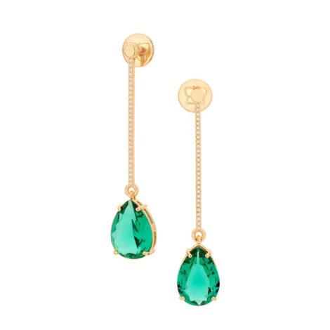 526418 brinco fio cravejado composto por zirconia cristal verde folheada a ouro marca rommanel loja revendedora brilho folheados