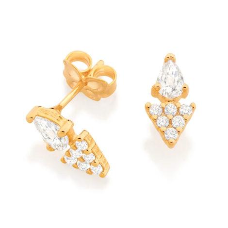 526455 brinco gota cristal composto por parte triangular cravejada folheado a ouro marca rommanel loja revendedora brilho folheados 2