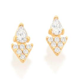 526455 brinco gota cristal composto por parte triangular cravejada folheado a ouro marca rommanel loja revendedora brilho folheados