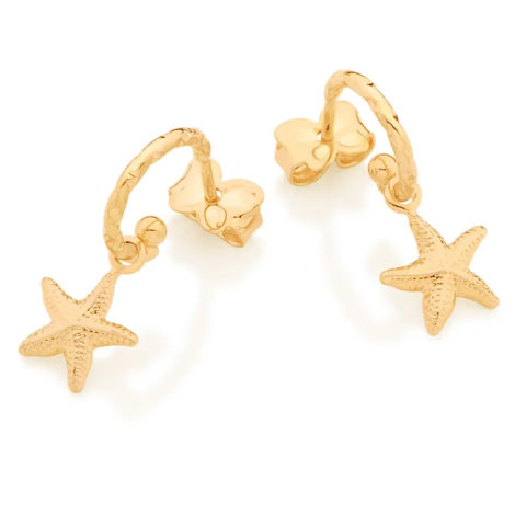526467 brinco meia argola com pingente estrela do mar marca rommanel loja brilho folheados 2