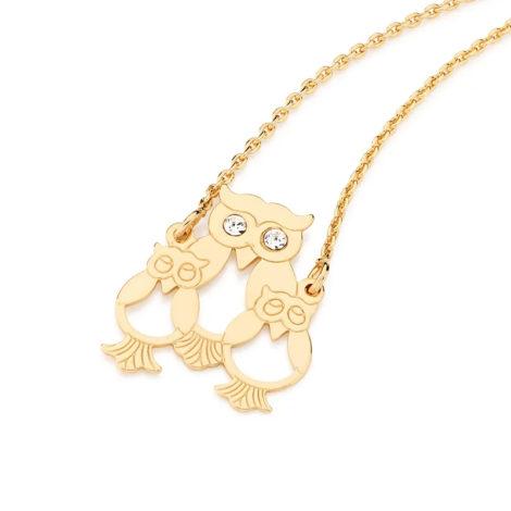 531333 cordao pingente familia de coruja marca rommanel loja brilho folheados