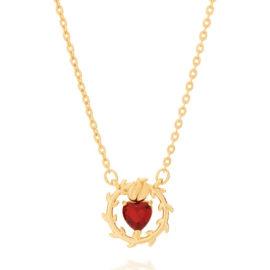 532065 gargantilha formada por fio elos cadeados com pingente sagrado coracao de jesus composto por 1 cristal formato coracao vermelho marca rommanel loja brilho folheados