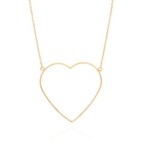 532069 maxi colar com maxi coracao vazado folheado a ouro marca rommanel loja revendedora oficial brilho folheados
