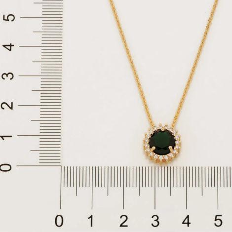 532072 gargantilha fio elos intercalados composta por pingente redondo cravejado verde marca rommanel loja revendedora brilho folheados 2