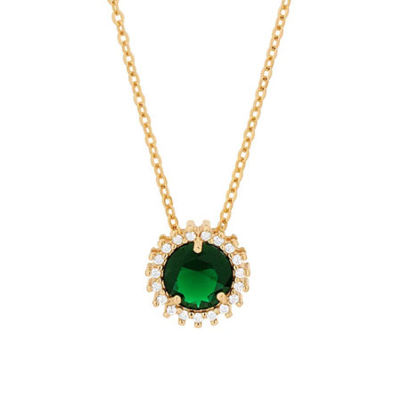 532072 gargantilha fio elos intercalados composta por pingente redondo cravejado verde marca rommanel loja revendedora brilho folheados