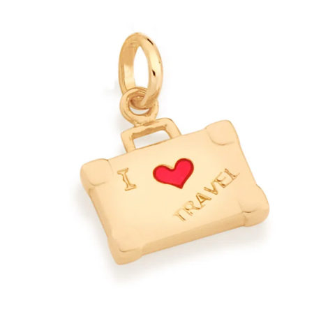 542267 pingente no formato mala escrito i love travel marca rommanel loja revendedora brilho folheados