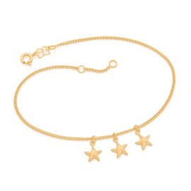 551668 tornozeleira estrelas grumet com 3 estrelas do mar marca rommanel loja brilho folheados