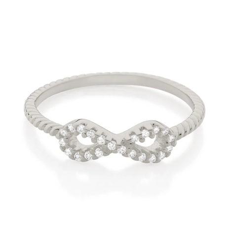 110849 anel prateado skinny ring aro trabalhado composto por infinito vazado e cravejado por 22 zircônias marca rommanel loja revendedora brilho folheados 2