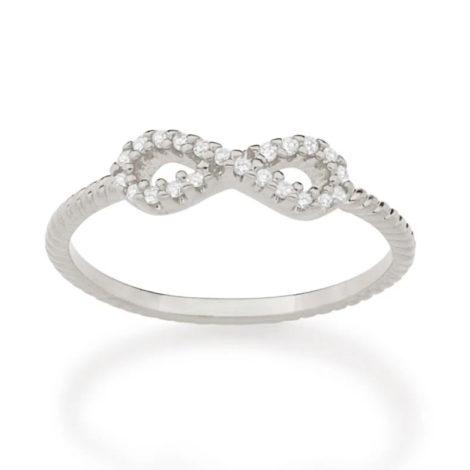 110849 anel prateado skinny ring aro trabalhado composto por infinito vazado e cravejado por 22 zircônias marca rommanel loja revendedora brilho folheados