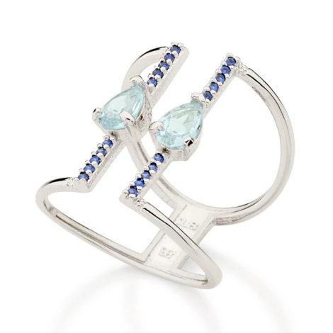 110858 anel aro duplo ajustável composto por 20 zircônias e 2 cristais gota azul marca rommanel loja revendedora brilho folheados 2