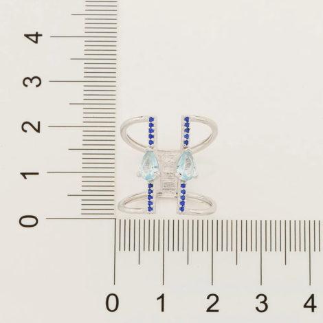 110858 anel aro duplo ajustável composto por 20 zircônias e 2 cristais gota azul marca rommanel loja revendedora brilho folheados 4