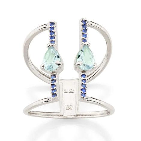 110858 anel aro duplo ajustável composto por 20 zircônias e 2 cristais gota azul marca rommanel loja revendedora brilho folheados