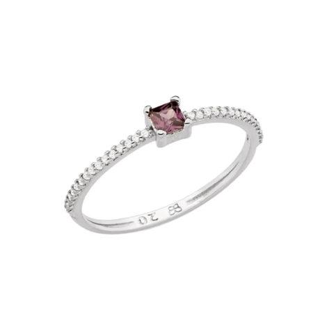 110863 anel prateado delicado zirconia carre lilas aro cravejado zirconias brancas colecao para elas rommanel loja brilho folheados