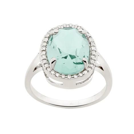 110865 anel prateado cristal oval verde solitario grande com zirconias colecao para elas rommanel loja brilho folheados