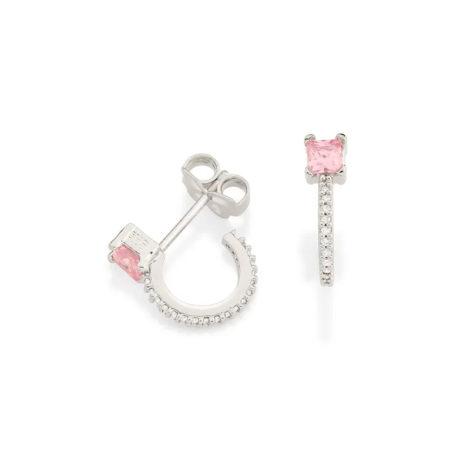 121799 brinco meia argola zirconia rosa claro zirconias brancas colecao para elas rommanel loja brilho folheados