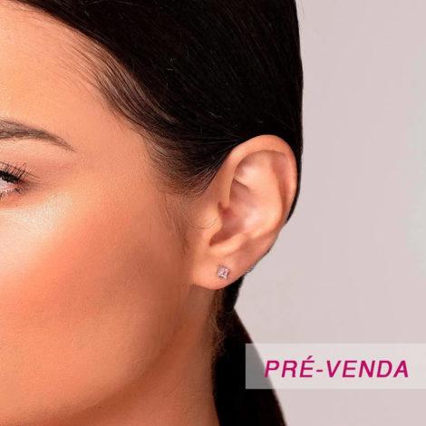 121800 brinco zirconia quadrada rosa prateado marca rommanel loja revendedora brilho folheados foto modelo