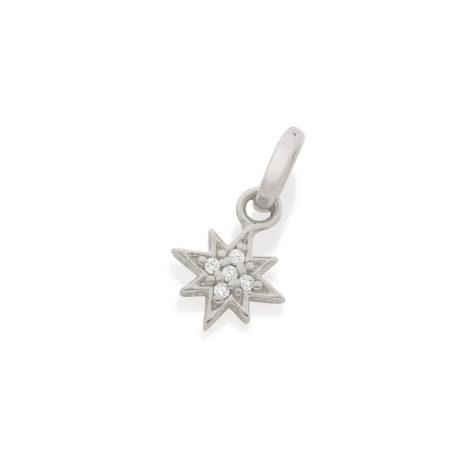 140825 pingente prateado estrela 8 pontas zirconia colecao para elas rommanel loja brilho folheados