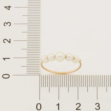 512864 anel delicado aro fino e liso composto por 5 pérolas marca rommanel loja revendedora brilho folheados 4